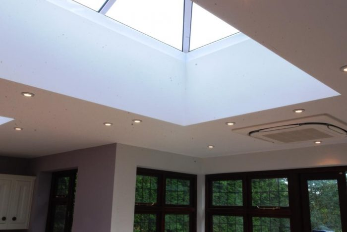 Roof lanterns in kitchen/family/dining space from inside