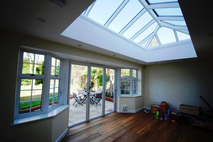 Orangery style extension with bi-fold doors and roof lantern over